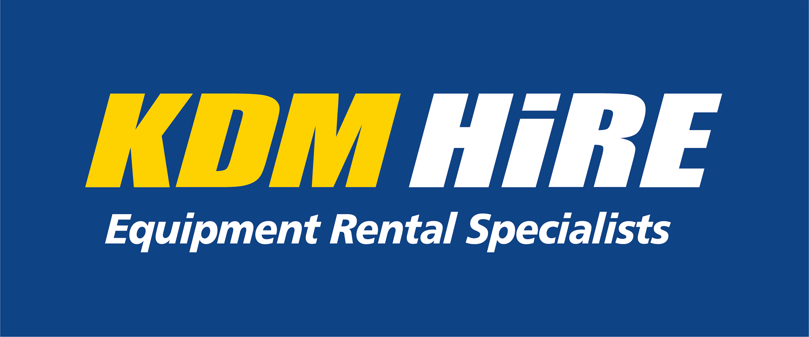 KDM Hire logo banner blue and yellow