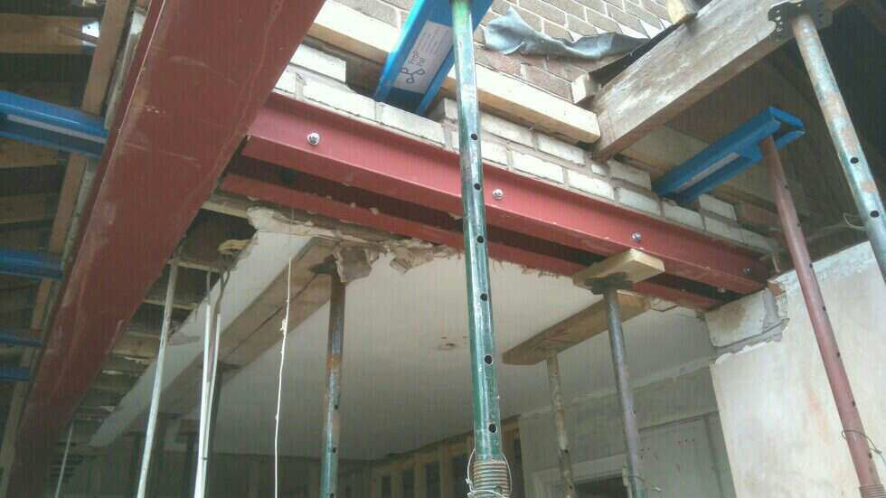 Prop Pal needle supporting alongside steel beams for RSJ installation