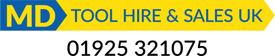 MD Tool Hire logo with phone number 01925321075