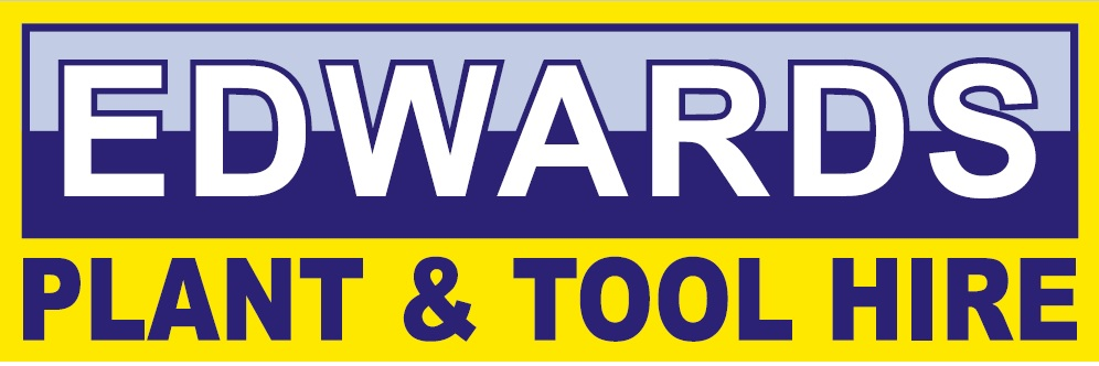 edwards plant and tool hire yellow and blue logo